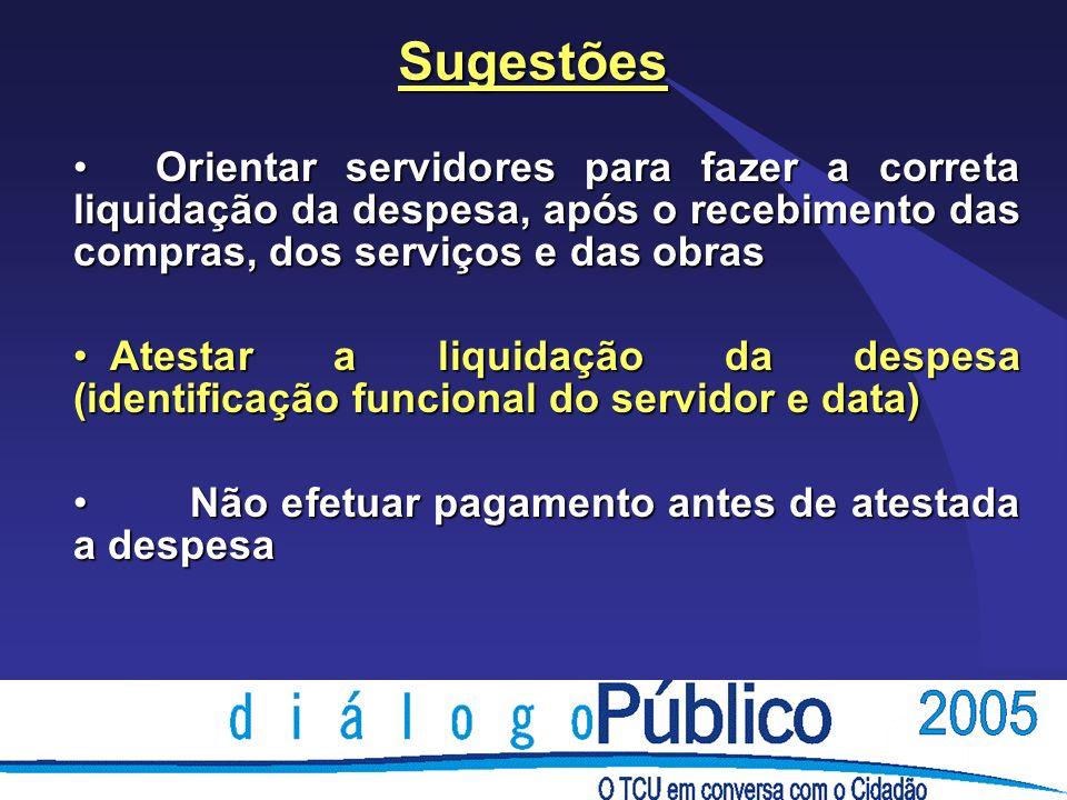 Sugestões Orientar servidores para fazer a correta liquidação da despesa, após o recebimento das compras, dos serviços e das obras.