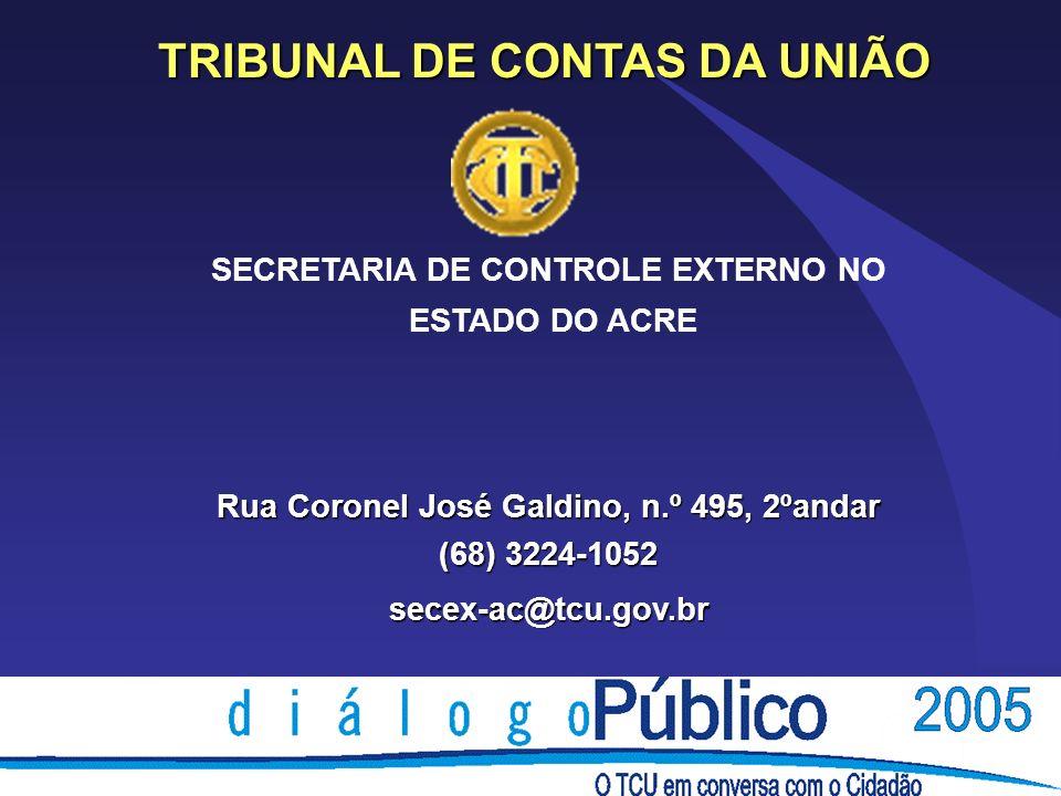 TRIBUNAL DE CONTAS DA UNIÃO SECRETARIA DE CONTROLE EXTERNO NO