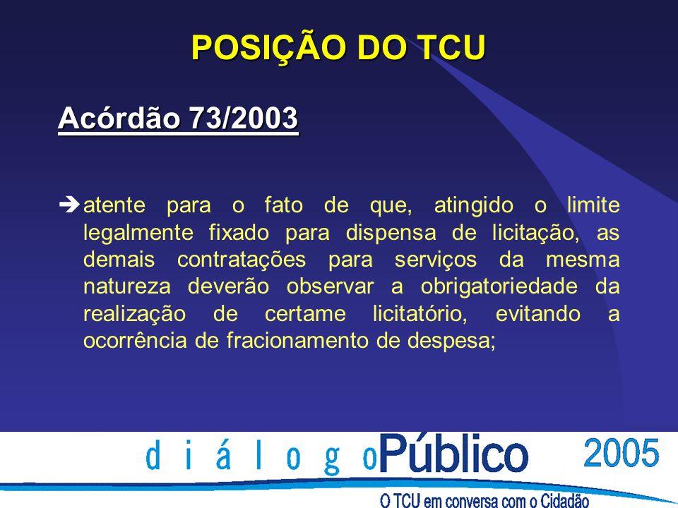 POSIÇÃO DO TCU Acórdão 73/2003