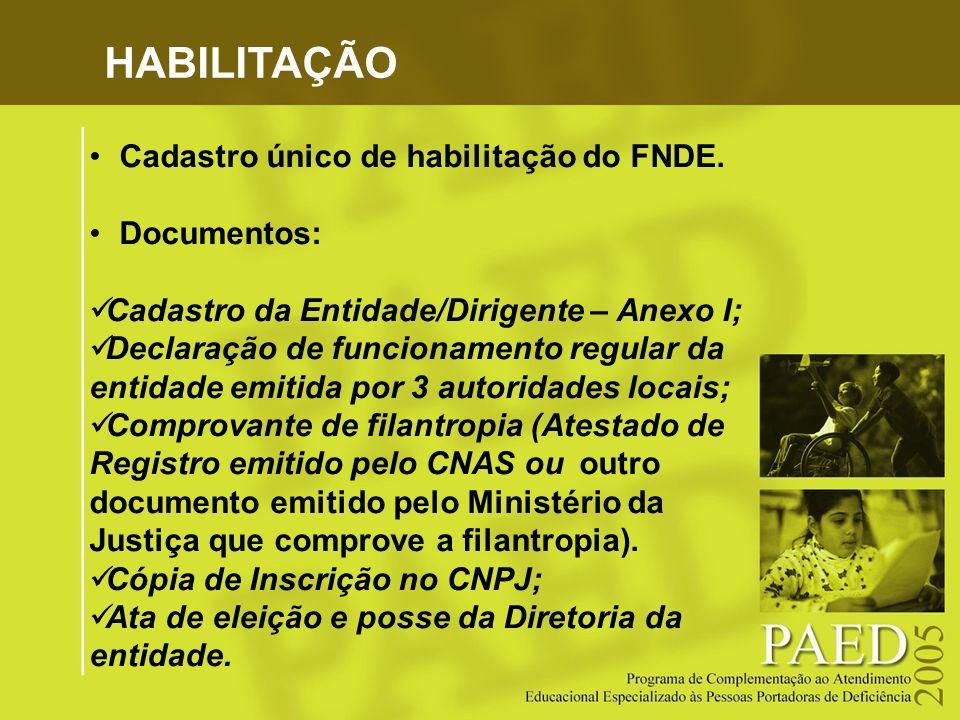 HABILITAÇÃO Cadastro único de habilitação do FNDE. Documentos: