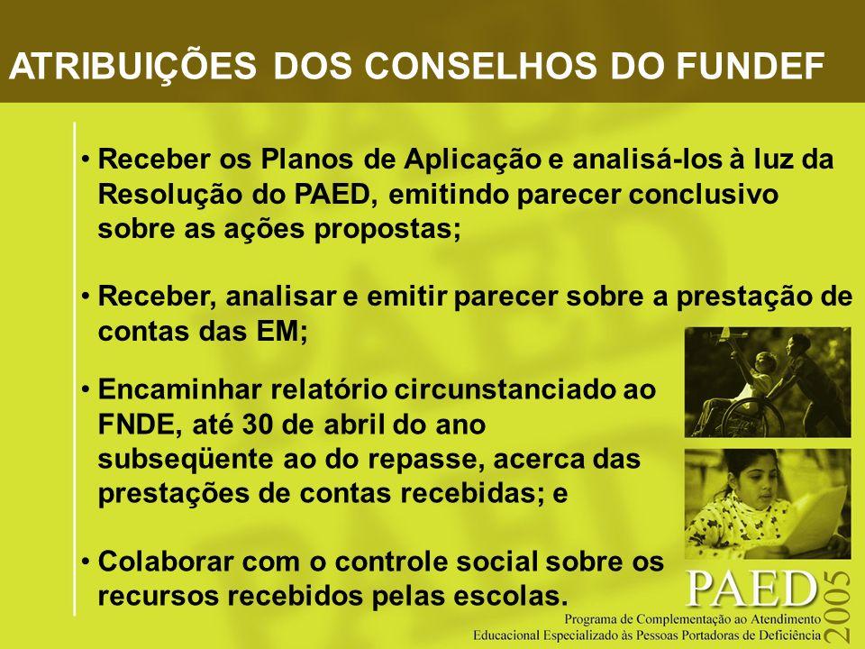 ATRIBUIÇÕES DOS CONSELHOS DO FUNDEF