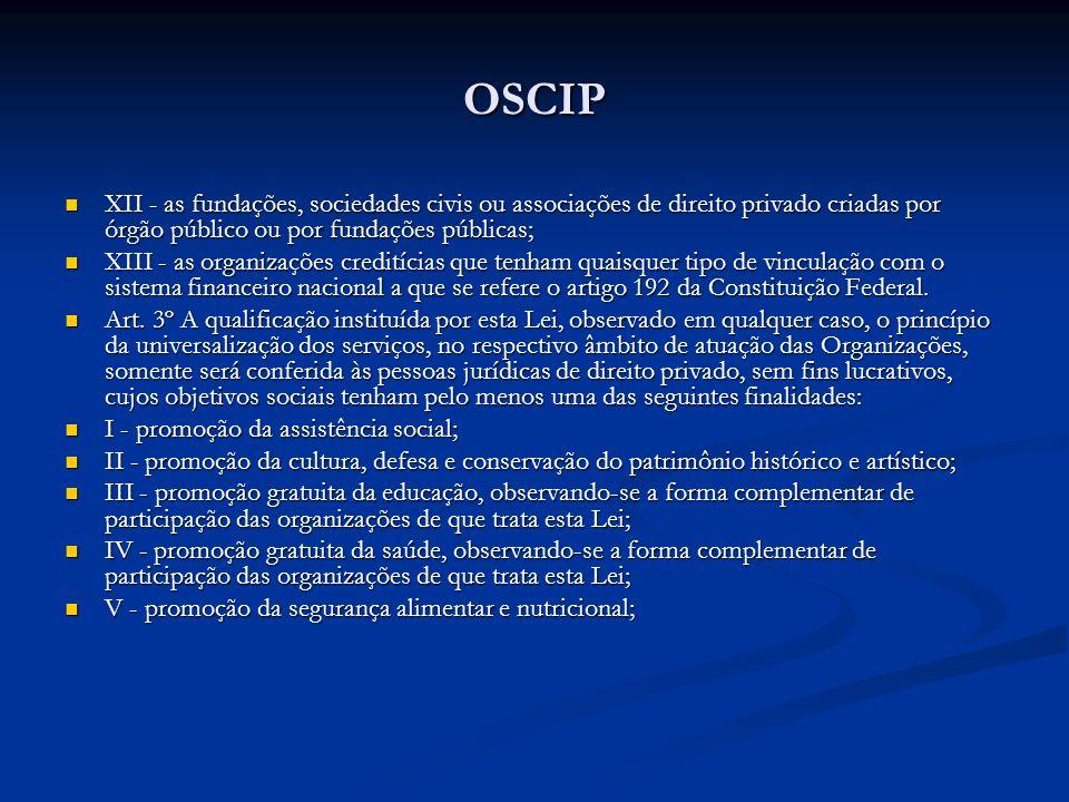 OSCIP XII - as fundações, sociedades civis ou associações de direito privado criadas por órgão público ou por fundações públicas;