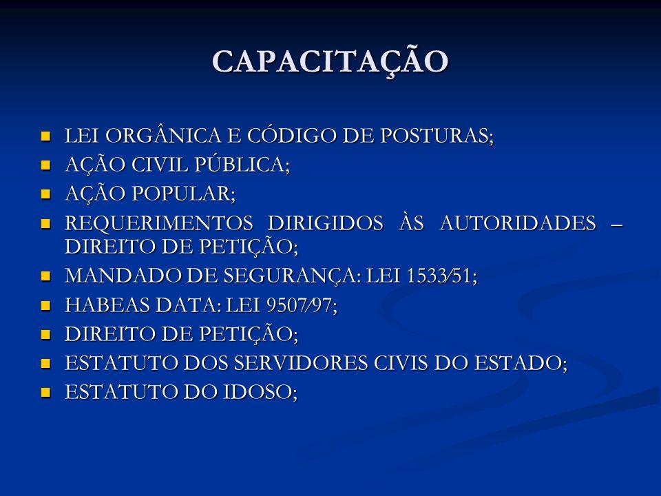 CAPACITAÇÃO LEI ORGÂNICA E CÓDIGO DE POSTURAS; AÇÃO CIVIL PÚBLICA;