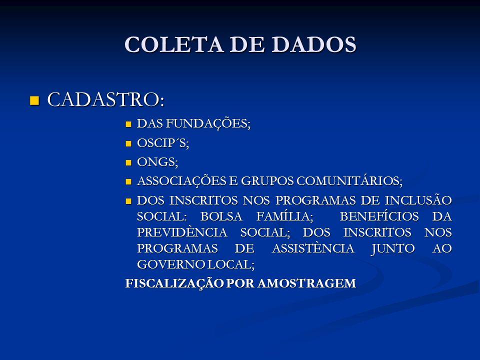 COLETA DE DADOS CADASTRO: DAS FUNDAÇÕES; OSCIP´S; ONGS;