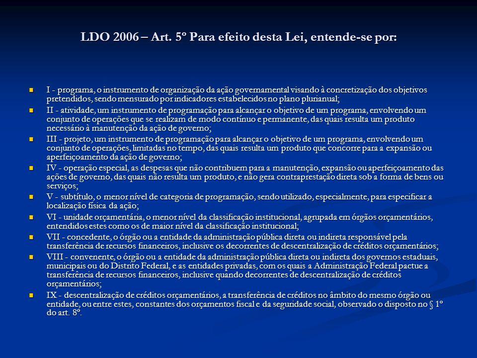 LDO 2006 – Art. 5º Para efeito desta Lei, entende-se por: