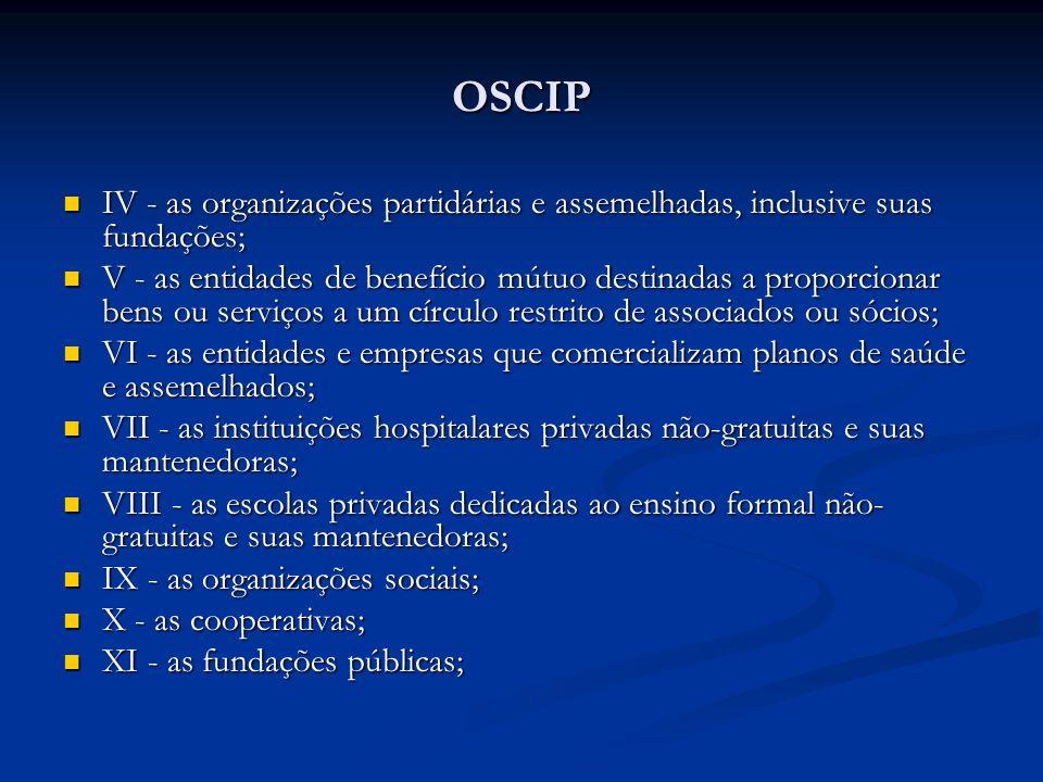 OSCIPIV - as organizações partidárias e assemelhadas, inclusive suas fundações;