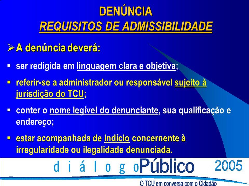 DENÚNCIA REQUISITOS DE ADMISSIBILIDADE