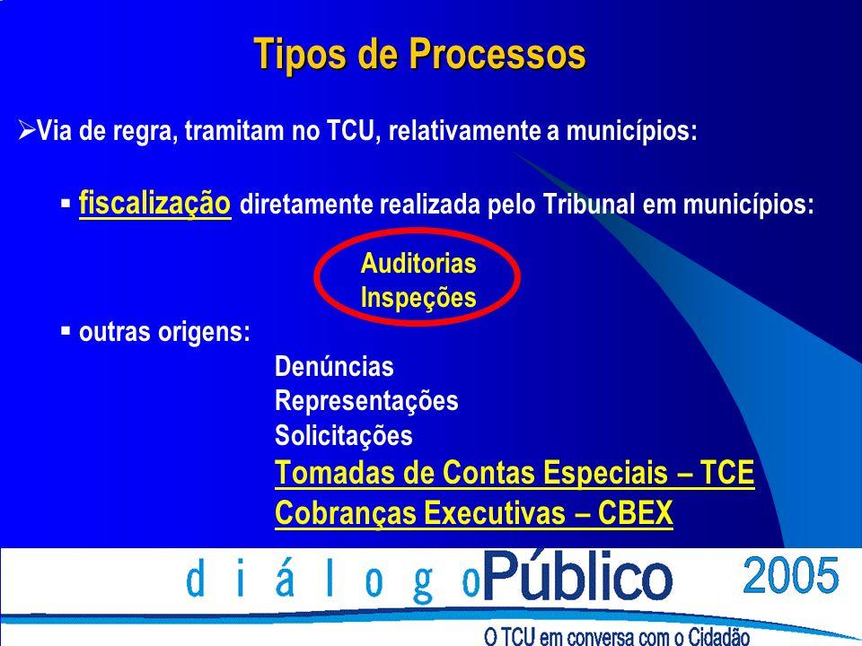 Tipos de Processos Via de regra, tramitam no TCU, relativamente a municípios: fiscalização diretamente realizada pelo Tribunal em municípios: