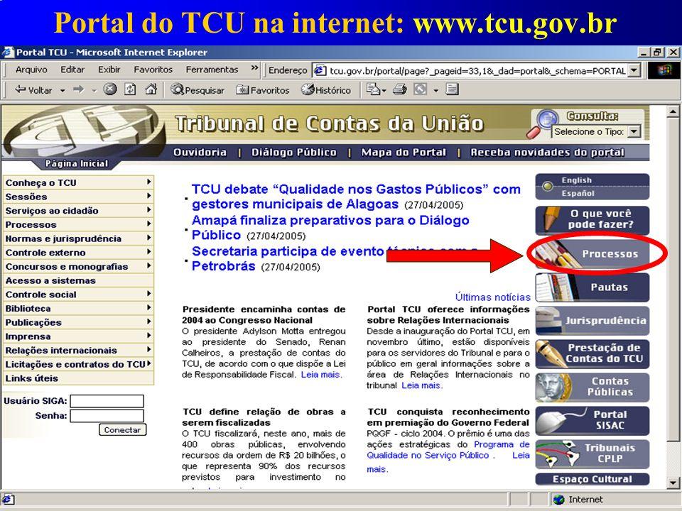 Portal do TCU na internet: www.tcu.gov.br