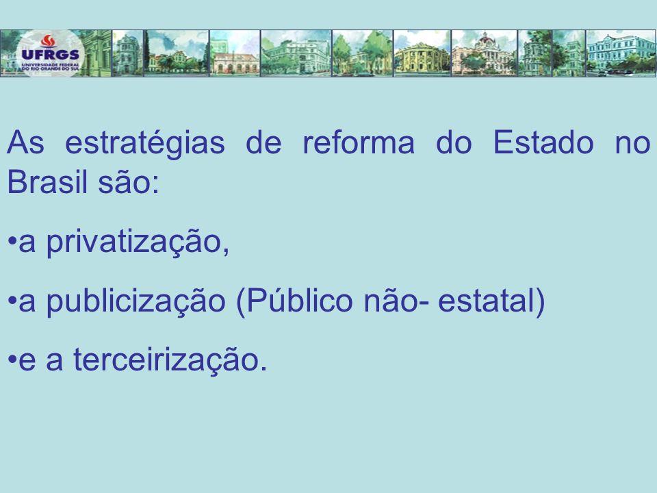 As estratégias de reforma do Estado no Brasil são: