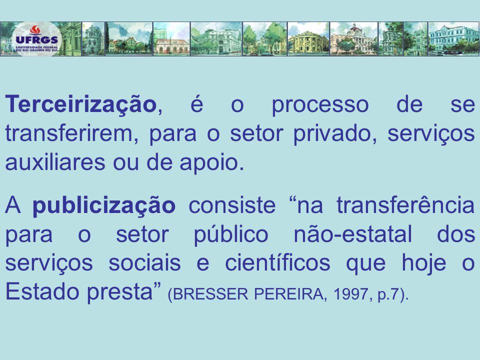 Terceirização, é o processo de se transferirem, para o setor privado, serviços auxiliares ou de apoio.