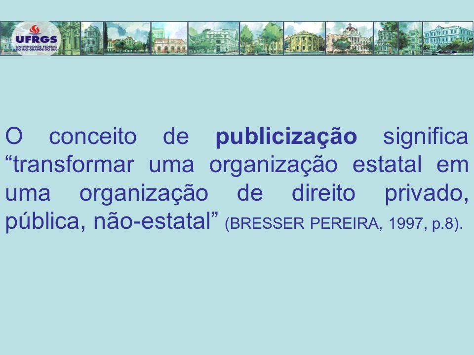 O conceito de publicização significa transformar uma organização estatal em uma organização de direito privado, pública, não-estatal (BRESSER PEREIRA, 1997, p.8).