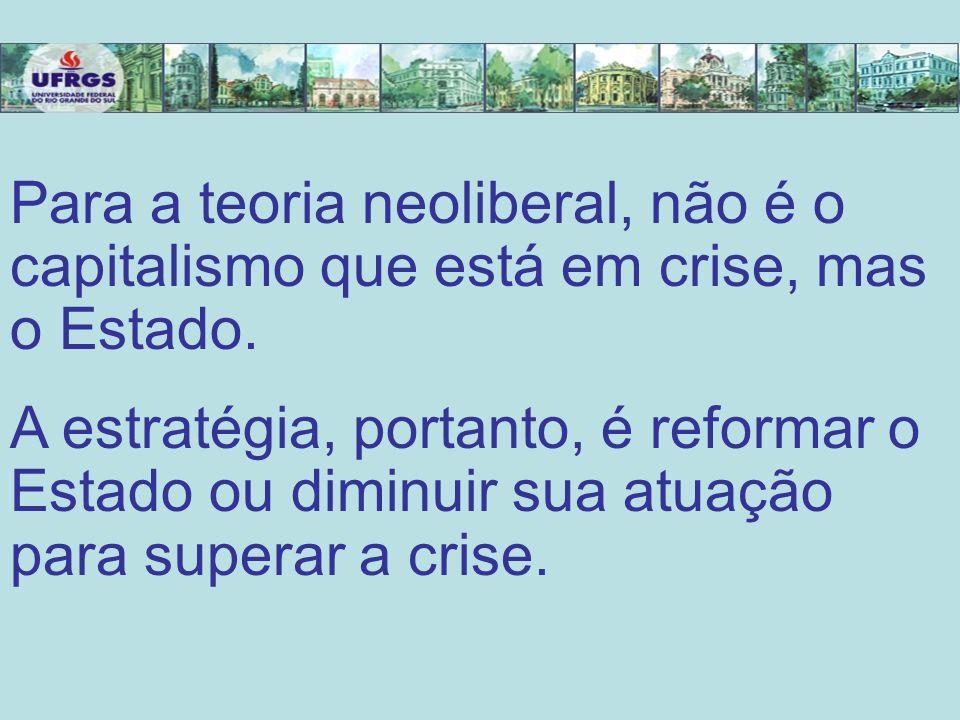Para a teoria neoliberal, não é o capitalismo que está em crise, mas o Estado.