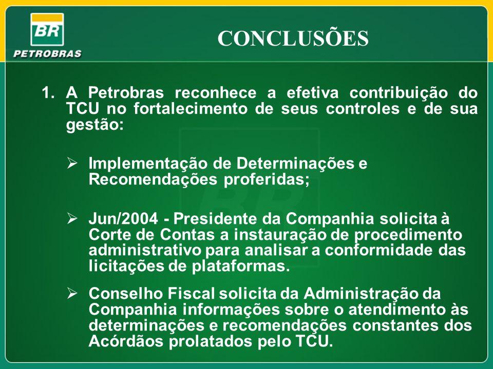 CONCLUSÕES A Petrobras reconhece a efetiva contribuição do TCU no fortalecimento de seus controles e de sua gestão: