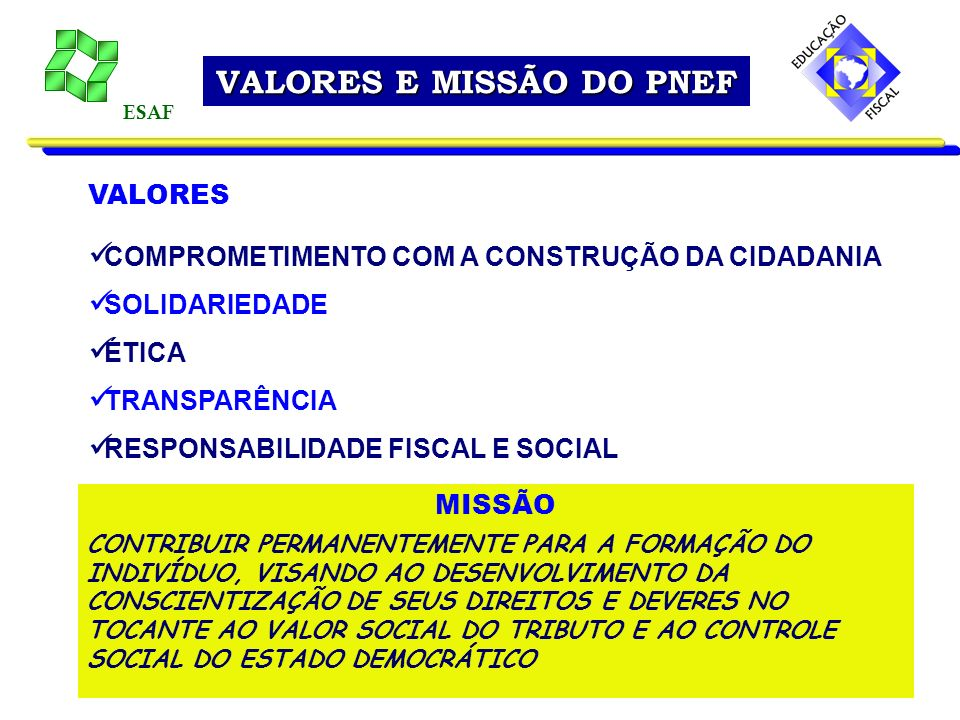 VALORES E MISSÃO DO PNEF