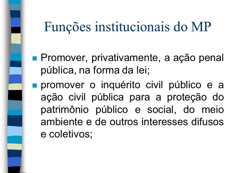 Funções institucionais do MP