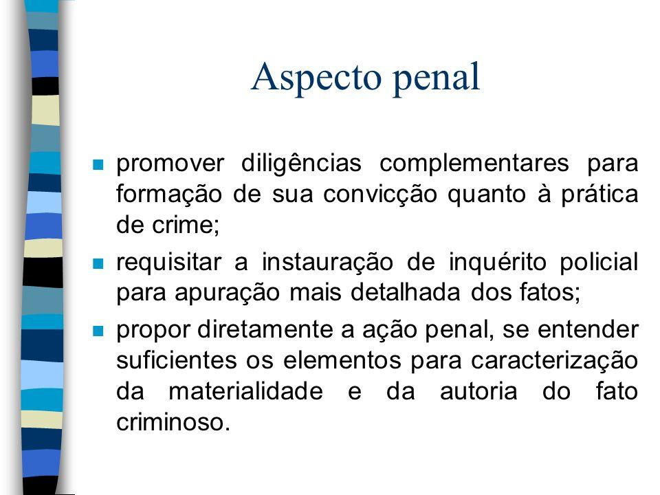 Aspecto penal promover diligências complementares para formação de sua convicção quanto à prática de crime;