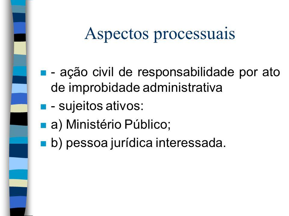 Aspectos processuais - ação civil de responsabilidade por ato de improbidade administrativa. - sujeitos ativos:
