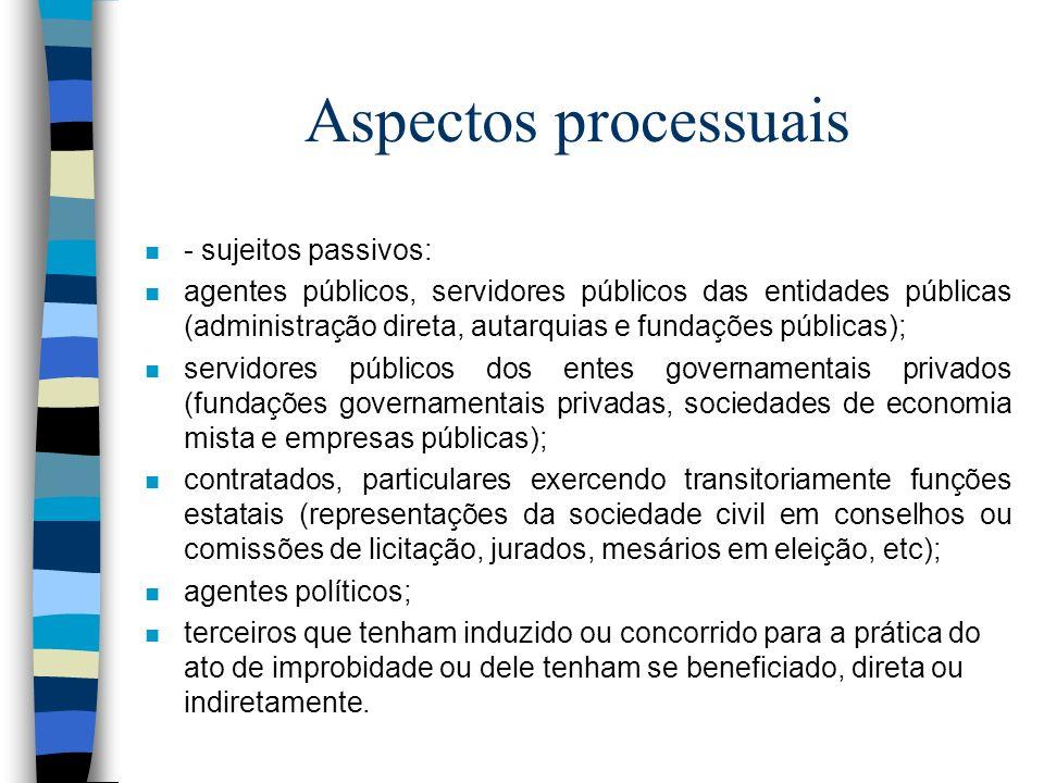Aspectos processuais - sujeitos passivos: