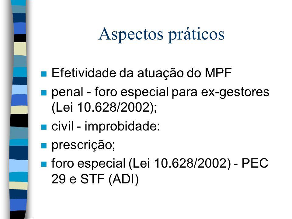 Aspectos práticos Efetividade da atuação do MPF