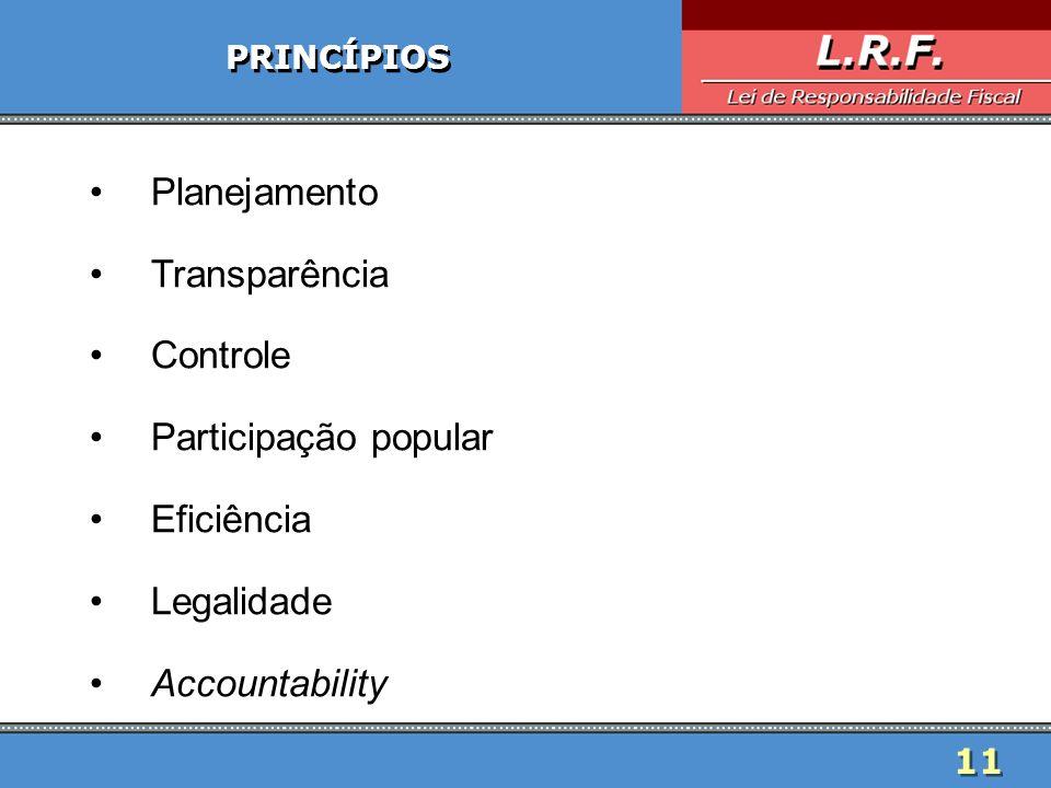 Planejamento Transparência Controle Participação popular Eficiência