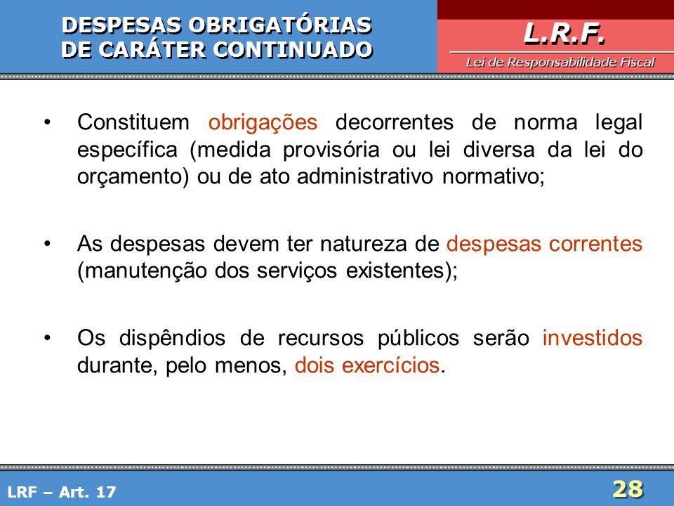 DESPESAS OBRIGATÓRIAS