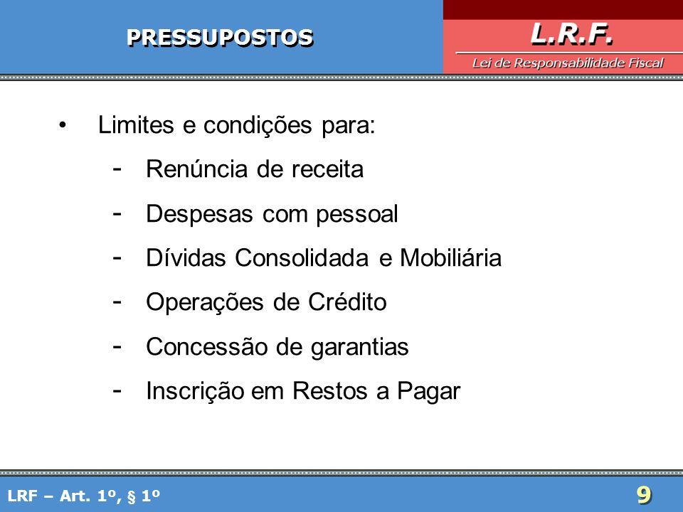 Limites e condições para: Renúncia de receita Despesas com pessoal