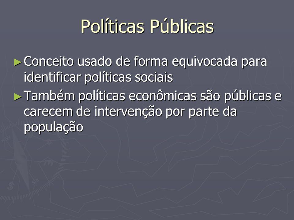 Políticas Públicas Conceito usado de forma equivocada para identificar políticas sociais.