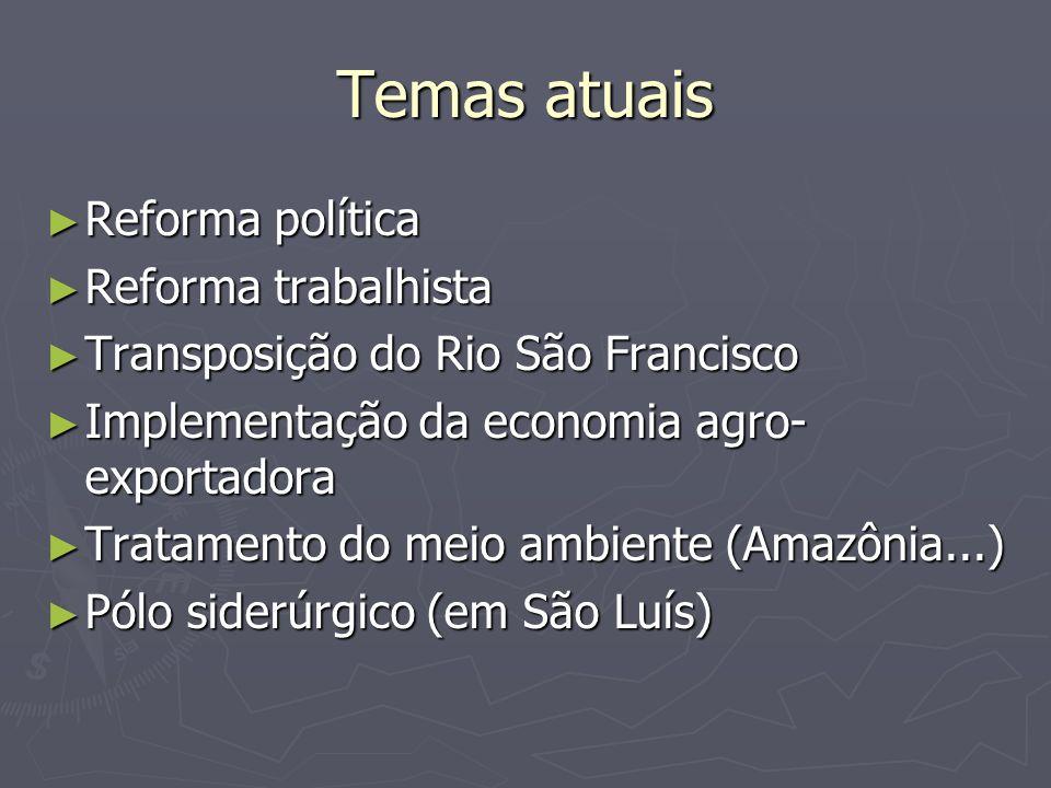 Temas atuais Reforma política Reforma trabalhista