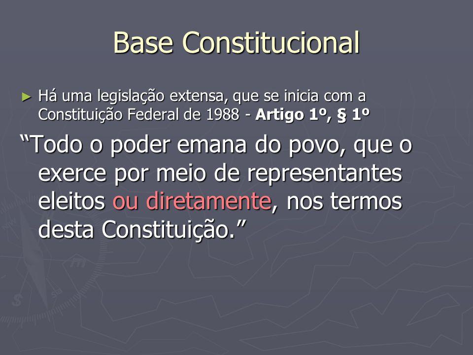 Base Constitucional Há uma legislação extensa, que se inicia com a Constituição Federal de 1988 - Artigo 1º, § 1º.