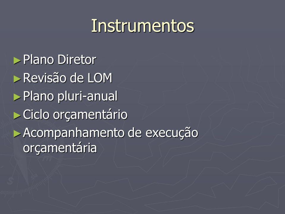 Instrumentos Plano Diretor Revisão de LOM Plano pluri-anual