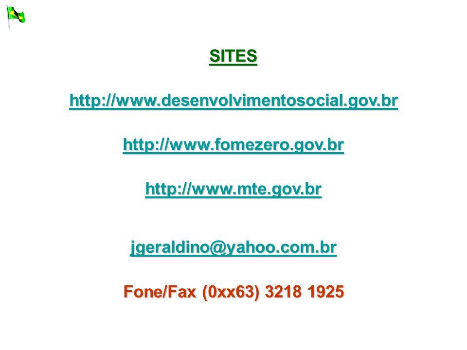 SITES http://www.desenvolvimentosocial.gov.br. http://www.fomezero.gov.br. http://www.mte.gov.br.