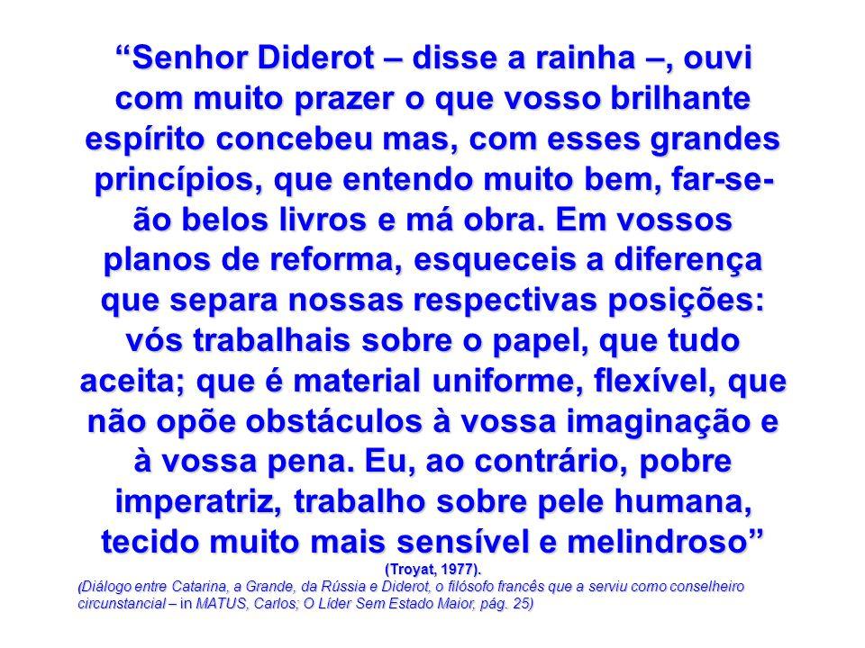 Senhor Diderot – disse a rainha –, ouvi com muito prazer o que vosso brilhante espírito concebeu mas, com esses grandes princípios, que entendo muito bem, far-se-ão belos livros e má obra. Em vossos planos de reforma, esqueceis a diferença que separa nossas respectivas posições: vós trabalhais sobre o papel, que tudo aceita; que é material uniforme, flexível, que não opõe obstáculos à vossa imaginação e à vossa pena. Eu, ao contrário, pobre imperatriz, trabalho sobre pele humana, tecido muito mais sensível e melindroso (Troyat, 1977).