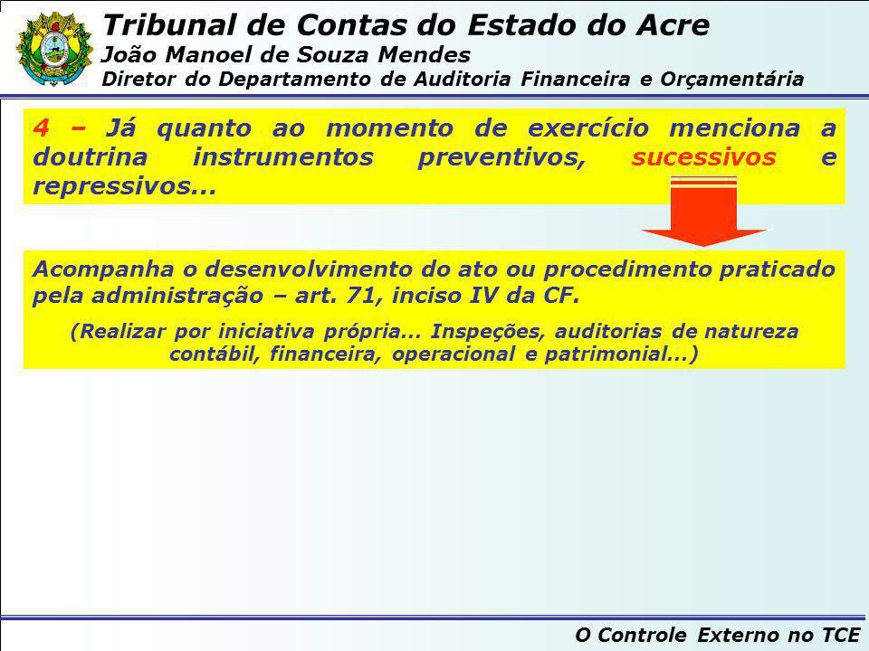 Tribunal de Contas do Estado do Acre João Manoel de Souza Mendes Diretor do Departamento de Auditoria Financeira e Orçamentária