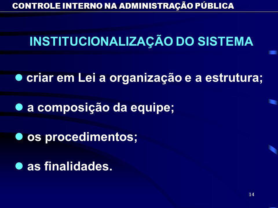 INSTITUCIONALIZAÇÃO DO SISTEMA