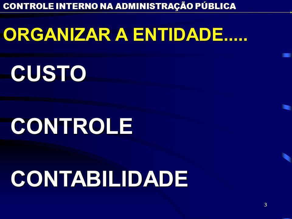 CUSTO CONTROLE CONTABILIDADE ORGANIZAR A ENTIDADE.....