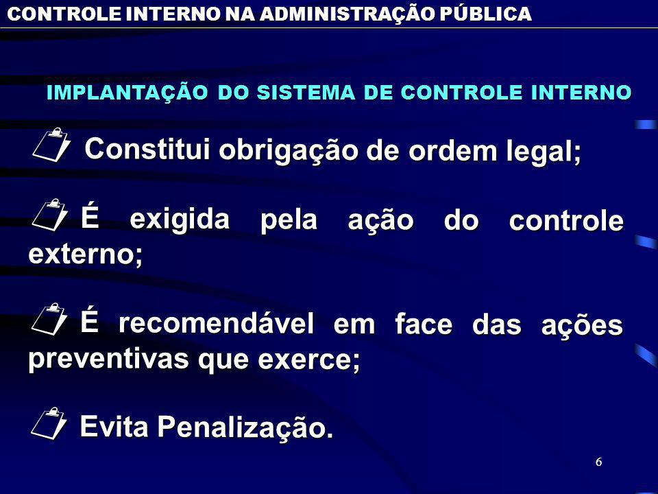 IMPLANTAÇÃO DO SISTEMA DE CONTROLE INTERNO