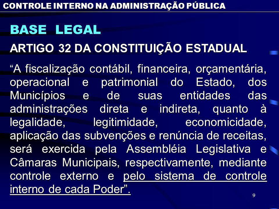 BASE LEGAL ARTIGO 32 DA CONSTITUIÇÃO ESTADUAL