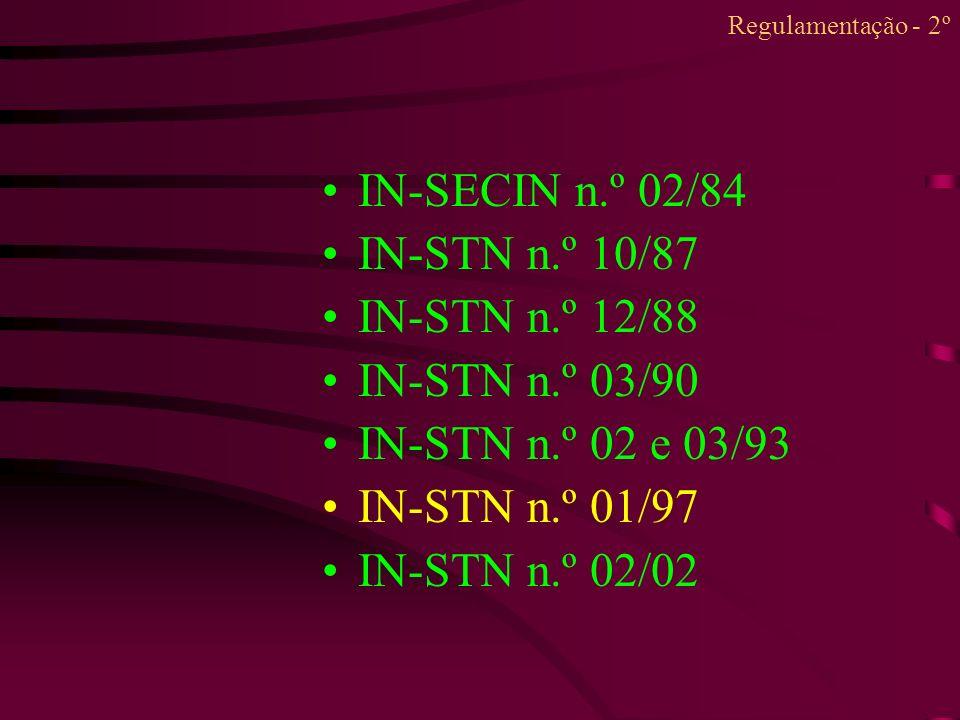 IN-SECIN n.º 02/84 IN-STN n.º 10/87 IN-STN n.º 12/88 IN-STN n.º 03/90
