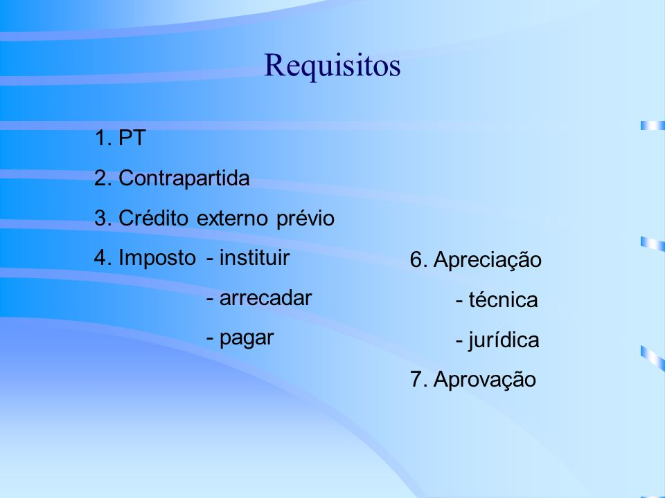 Requisitos 1. PT 2. Contrapartida 3. Crédito externo prévio