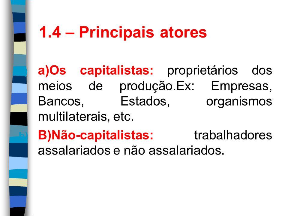 1.4 – Principais atoresa)Os capitalistas: proprietários dos meios de produção.Ex: Empresas, Bancos, Estados, organismos multilaterais, etc.