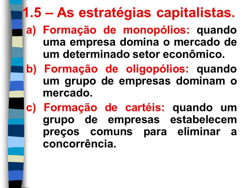 1.5 – As estratégias capitalistas.