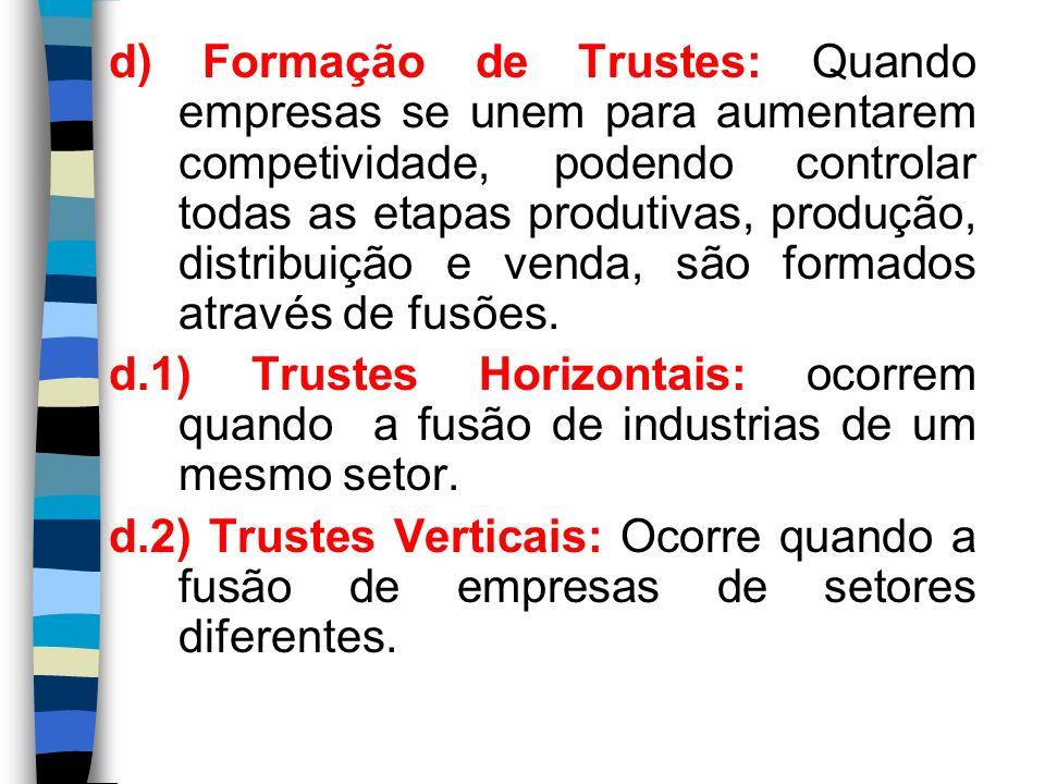 d) Formação de Trustes: Quando empresas se unem para aumentarem competividade, podendo controlar todas as etapas produtivas, produção, distribuição e venda, são formados através de fusões.