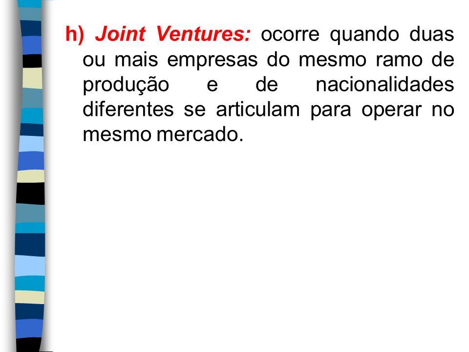 h) Joint Ventures: ocorre quando duas ou mais empresas do mesmo ramo de produção e de nacionalidades diferentes se articulam para operar no mesmo mercado.
