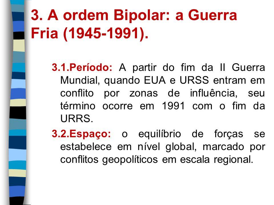 3. A ordem Bipolar: a Guerra Fria (1945-1991).