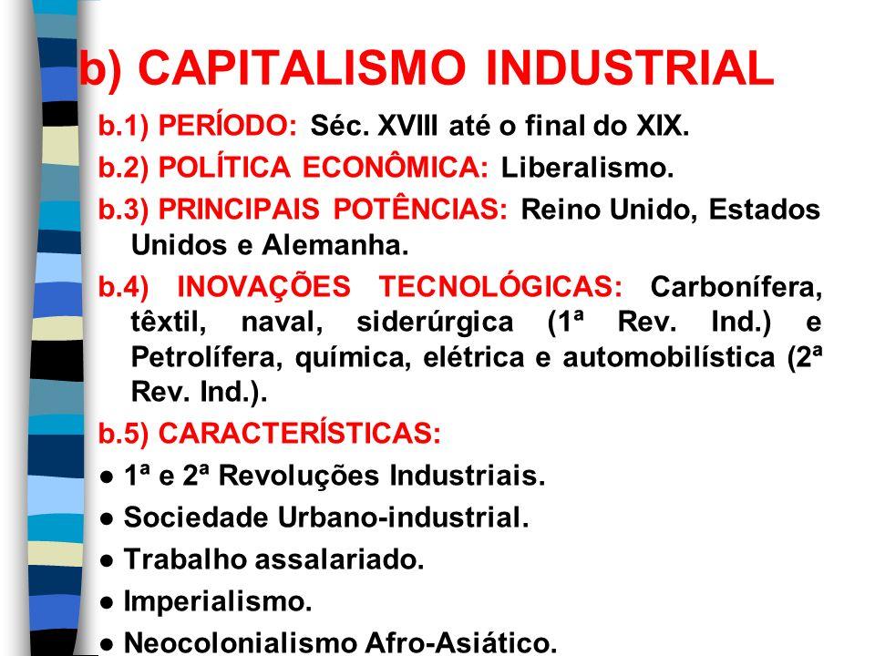 b) CAPITALISMO INDUSTRIAL