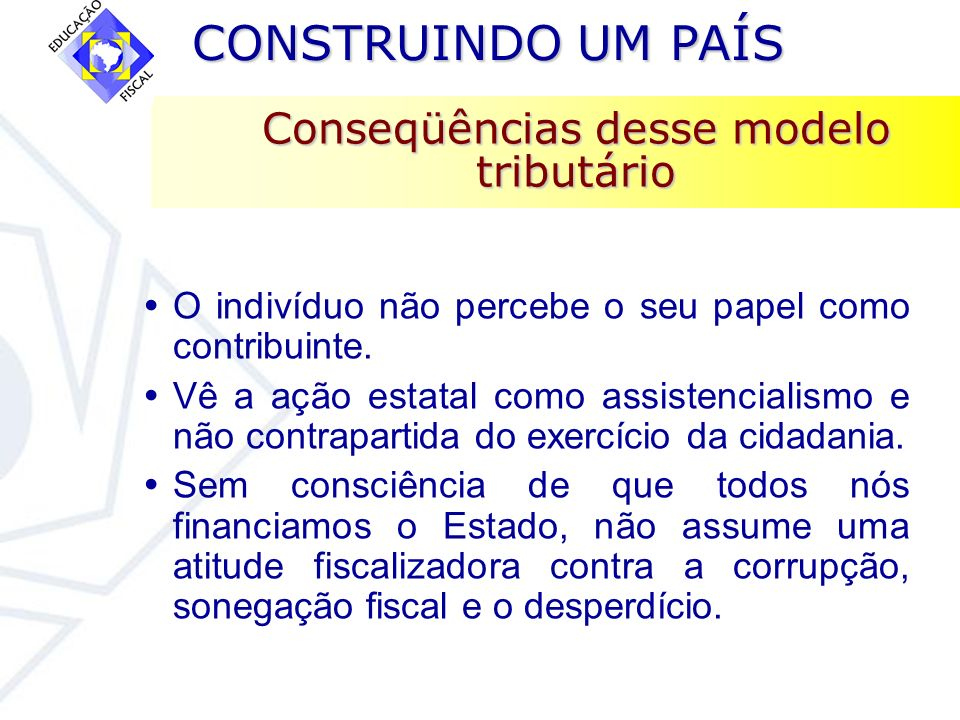 Conseqüências desse modelo tributário