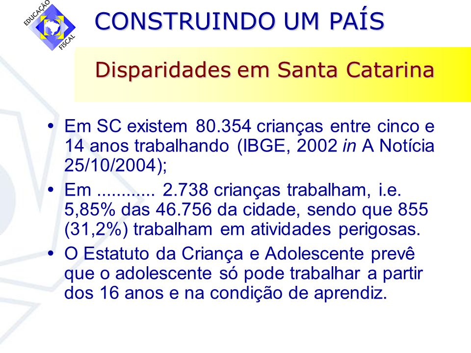 Disparidades em Santa Catarina