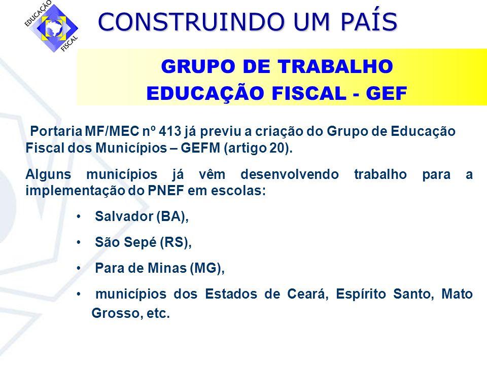 GRUPO DE TRABALHO EDUCAÇÃO FISCAL - GEF