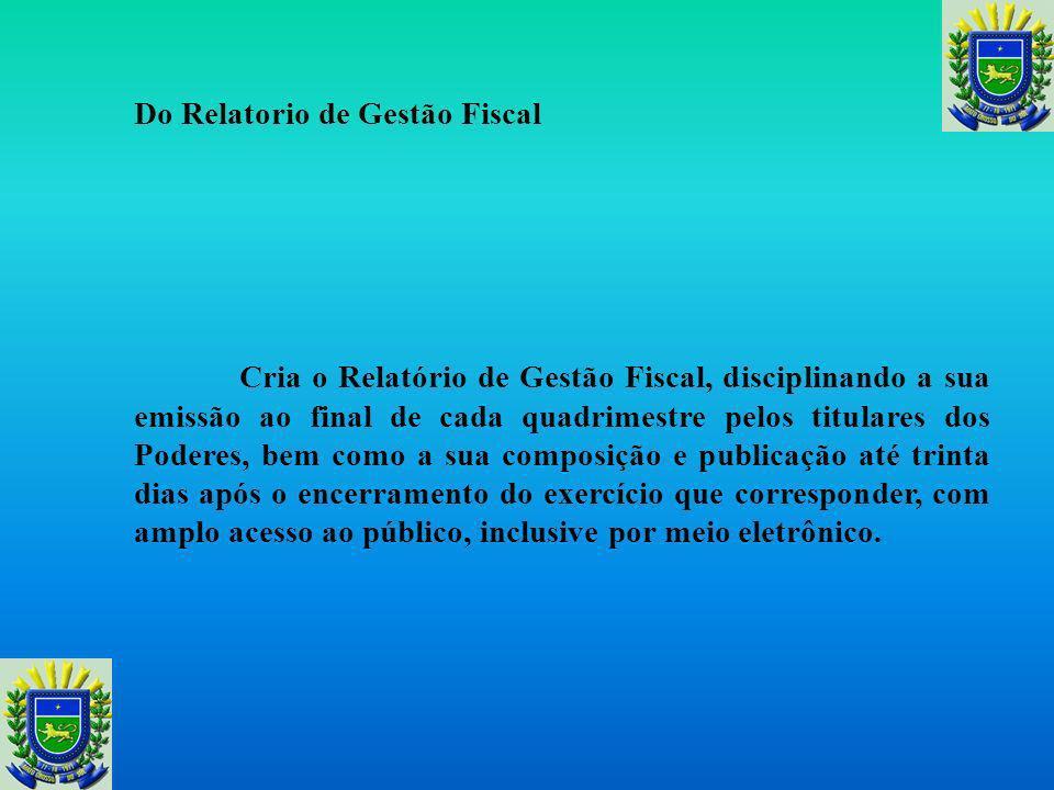 Do Relatorio de Gestão Fiscal
